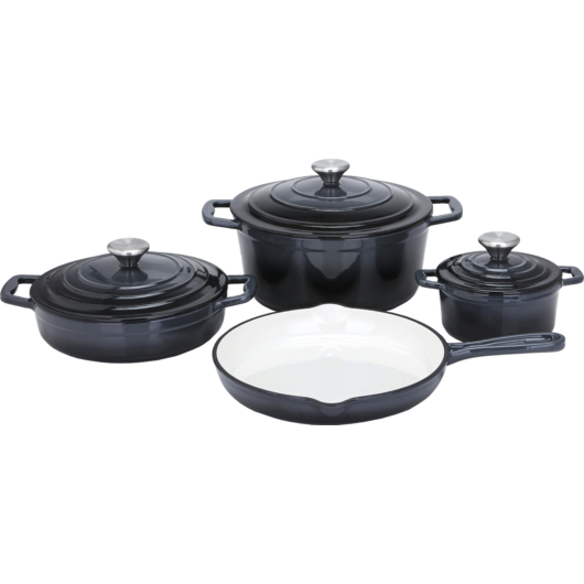 Carl Schmidt Sohn KOCH SYSTEME XANTEN, 7 részes kiváló minőségű  öntöttvas edény készlet, fekete