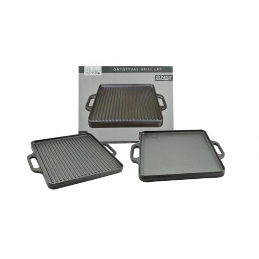Perfect Home Öntöttvas grill lap 2 oldalas 42*42 cm