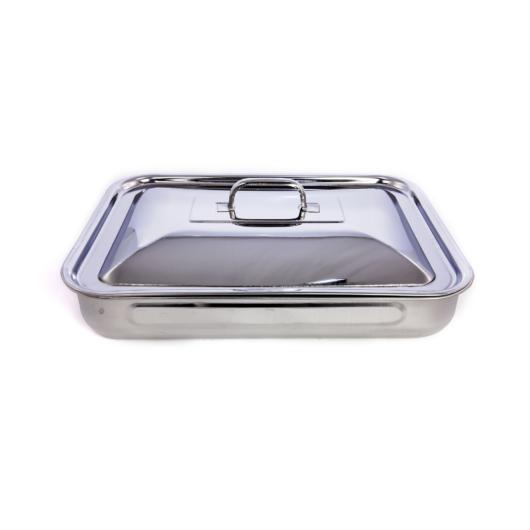 Steel Pan rozsdamentes acél tepsi 29 x 21 x 5 cm, fogantyúval, fedővel