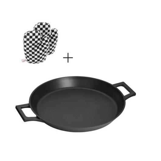 Inoxibar Absolut Black Range paella sütő, tapadásmentes bevonattal 32 cm, 2 db sütő kesztyűvel