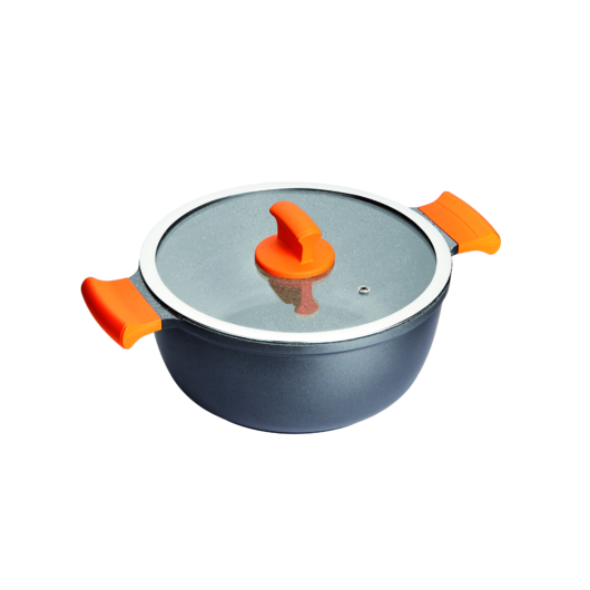 Inoxibar rozsdamentes lábas 20 x 9,5 cm, 2,2 L üveg fedővel Absolut Orange Range