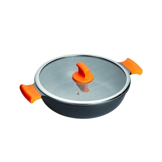 Inoxibar Absolut Orange Range  szelet sütő 32 cm üveg fedővel, tapadásmentes bevonattal