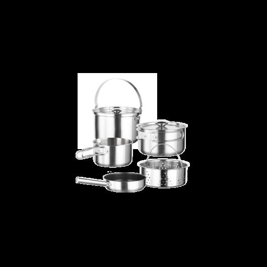 Inoxibar prémium kategóriás rozsdamentes kemping edény készlet, 7 részes hőtartó táskával, Kamp Line