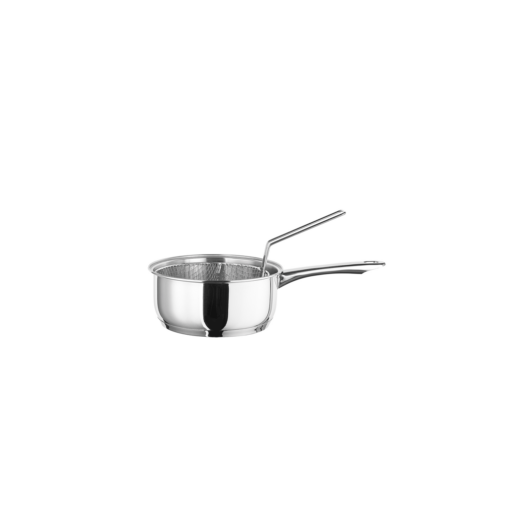 Inoxibar rozsdamentes serpenyő sütőkosárral 18 x 8 cm 18/10 rozsdamentes acélból 2 L Ecco Line