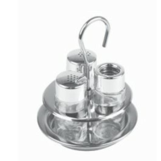 Montini  3 részes asztali só, borstartó, fogpiszkáló készlet, rozsdamentes