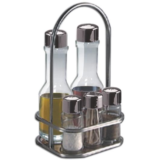 Montini 5 részes asztali olaj-ecet készlet, rozsdamentes