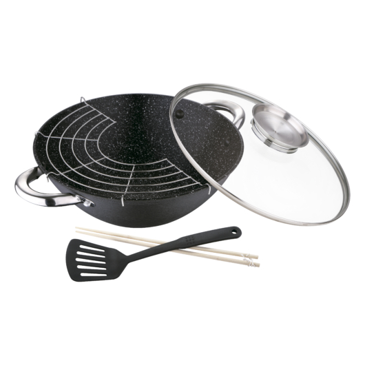 Bergner Masterpro Foodies Collection öntöttvas wok 5 részes 28X9.4cm üvegfedővel, aroma gombbal