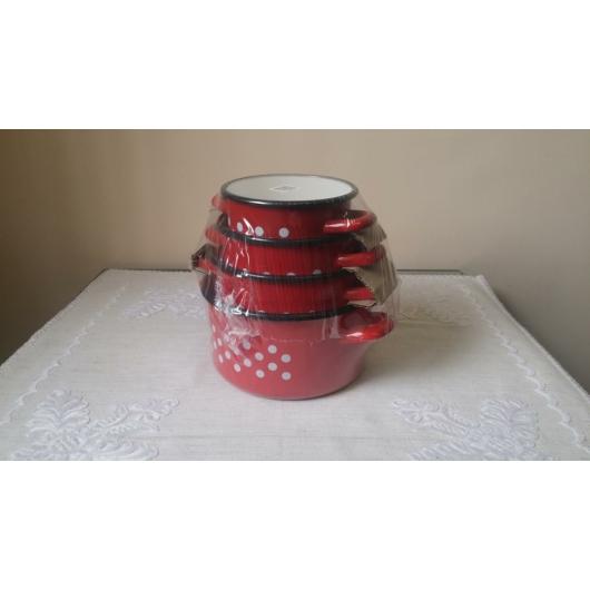 Zománcozott fazék készlet piros pöttyös 14-20 cm
