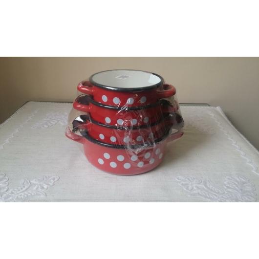 Zománcozott lábas készlet piros pöttyös 14-20 cm
