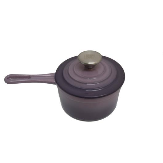 Carl Schmidt Sohn KOCH SYSTEME XANTEN, kiváló minőségű  zománcozott öntöttvas szószos nyeles edény fedővel 14 cm, lila