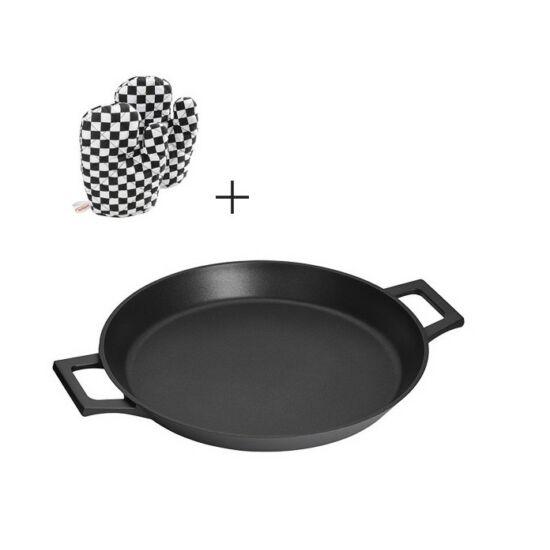 Inoxibar Prémium kategória Rozsdamentes paella sütő, tapadásmentes bevonattal 32 cm, 2 db sütő kesztűvel Absolute Black Range
