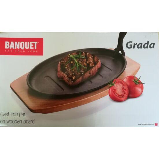 Banquet ovális öntöttvas serpenyő fa tálcán 27x17,5 cm