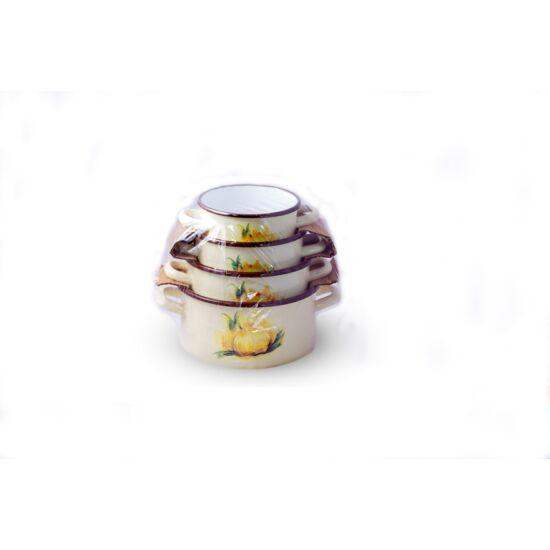 Zománcozott edénykészlet bézs 14-20 cm