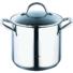 Kép 1/4 - Bergner Gourmet 18/10 rozsdamentes acél tésztafőző szett 3 darabos üvegfedővel 16X21 cm